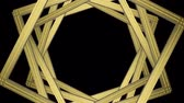 gatsby : zooming luxury Golden Gatsby retro style square frame shape pattern rotation with White alpha channel footage background.