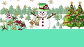 noel kartı : Cute snowman painted with watercolor He jumped out to wish a happy Christmas and a happy New Year for the background, with space to put your greeting message. Stok Video