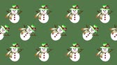 noel kartı : Cute snowman painted with watercolor seamless animation pattern for the your background.Concept of wish a happy Christmas and a happy New Year.