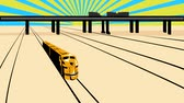 2d video footage animation of a diesel train on railroad passing viaduct bridge done in retro woodcut style.