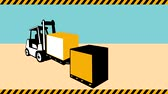 2d video footage animation of a forklift truck with crate box loading lifting materials handling.