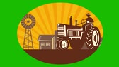 fundo verde : 2d video footage animation of a vintage farm tractor in farm field with farmhouse barn windmill tree done in retro style.