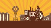 2d video footage animation of a vintage farm tractor in farm field with farmhouse barn windmill tree done in retro style.