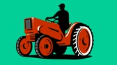 2d animation of a farmer tractor driving vintage tractor on green screen done in retro style Wideo