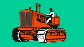 2d animation of a farmer driving vintage bulldozer tractor on green screen done in retro style