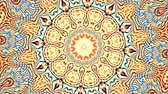 Transforming ornamental vintage mosaic art circle. Round ornate ornamental mandala pattern. Seamless loop footage.