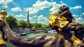 skyline : PARIS, FRANCE. View of Eiffel Tower from Alexander III Bridge. Timelapse with slider 4K, Ultra High Definition, Ultra HD, UHD, 2160P, 3840 x 2160 Stock Footage