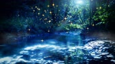 river : Landscape with fairy forest stream and fireflies on moon night. Nature background. 4K, Ultra High Definition, Ultra HD, UHD, 2160P, 3840 x 2160