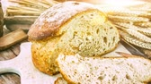 flour : Freshly baked bread in rustic setting. Slider shot. 4k, Ultra High Definition Stock Footage