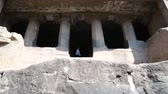 Махараштра : Outdoor view on columns on one of the entrances to Aurangabad caves.