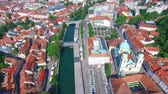 mysterious : Aerial view of beautiful Ljubljana on the river Ljubljanica in Slovenia.