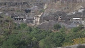 Махараштра : View on the landscape and outdoors of the Aurangabad caves. Стоковые видеозаписи