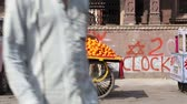 organic : JODHPUR, INDIA - 10 FEBRUARY 2015: Men working at street stand with citrus fruit in Jodhpur. Stock Footage