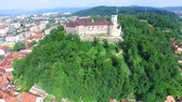 mysterious : View of Slovenian fortress Ljubljana Castle.