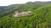 muro de pedras : Aerial view of fort Medvedgrad with mount Medvednica forest around it.