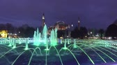 evening : Water fountain in front of Sultan Ahmed Mosque in Istanbul, Turkey Stock Footage