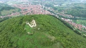 mysterious : Aerial view of Bosnian pyramids with picturesque village of Visoko Stock Footage