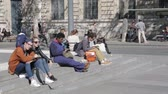 corner : PARIS, FRANCE - SEPTEMBER 2015: Young people on the stairs of the Place de la Republique