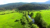 Aerial view of Jesenica river and surrounding in Croatian region Lika. 影像素材