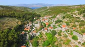 Aerial view of the village of Dol on the island of Brac in Croatia 影像素材