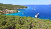 Aerial view of yacht in Adriatic sea off the coast of Croatia. Stock Footage