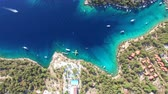Aerial view of boats moored in Adriatic sea off the coast of Croatia. 影像素材
