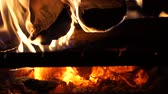 closeup shot footage barbecue grill fire firewood in fireplace with smoldering coal Stock Footage