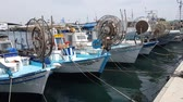 chipre : MAY 22, 2018, PAPHOS, CYPRUS: Small Fishing Boats In Paphos Harbor, Mediterranian sea, Cyprus.