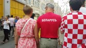 tým : JUL 15, 2018, MOSCOW, RUSSIA: Man in Belarus team t-shirt in time of FIFA soccer world Championship.