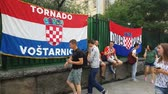 croata : JUL 15, 2018, MOSCOW, RUSSIA:People traffic in front of Croatian national soccer team flags in Moscow
