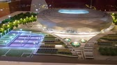 katar : JUL 10, 2018 MOSCOW, RUSSIA: Model of Al Thumama stadium in Qatar show room. Qatar is the country of World Soccer Championship 2022.