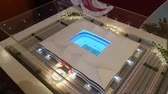 katar : JUL 10, 2018 MOSCOW, RUSSIA: Model of Al bait stadium in Qatar show room. Qatar is the country of World Soccer Championship 2022. Stock Footage