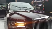 moszkva : Close-ups of the new Russian Aurus limousine at the exhibition MIMS 2018. SEP 03, 2018 MOSCOW, RUSSIA