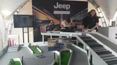 ралли : Entertainment stand of the Jeep company. SEP 08, 2018 MOSCOW, RUSSIA Стоковые видеозаписи