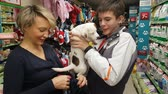 Mom and son wear small white terrier puppy in the store. NOW 24, 2018 MOSCOW, RUSSIA Stock Footage