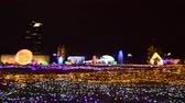 ambiance : Bangkok Thailand December 16, 2017 :  ambiance of traveler visit and watch LED light show in Thailand illumination festival 2017 on night