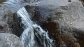 oneindig : water falling on river pass rock and stone in forest