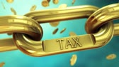 taxes due : Tax symbol on gold chain with falling coins. 4K UHD animated video.