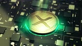 mikroişlemci : Cryptocurrency XRP Ripple symbol on circuit board animation video Stok Video
