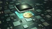 Cryptocurrency Bitcoin virtual payment symbol of future. Mining Bitcoin on circuit board animation video loop. Wideo
