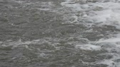 small cascade on the river closeup showing power and speed of flowing water Stock Footage