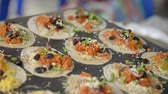 amarrotar : Making of Thai Crispy Pancake rumpled on hot plate in the gourmet market Stock Footage