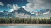 yoho : aerial of athabasca river in jasper Stock Footage