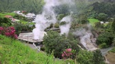 san miguel : Hot spring with boiling water at the Caldeiras in the city of Furnas Sao Miguel Island Azores. Stock Footage