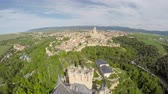 article : Aerial footage of The Spanish castle Alcazar of Segovia, in Castilla and Leon, Spain