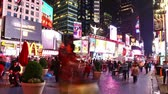 nova iorque : Time lapse of Times Square traffic at night