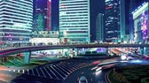 glow : the light trails of city traffic in shanghai, china. time lapse Stock Footage
