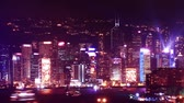 hong kong : Hong Kong skyscrapers at night. time lapse Vídeos