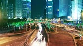 chiny : shanghai city traffic at night. time lapse