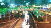 economia : shanghai city traffic at night. time lapse